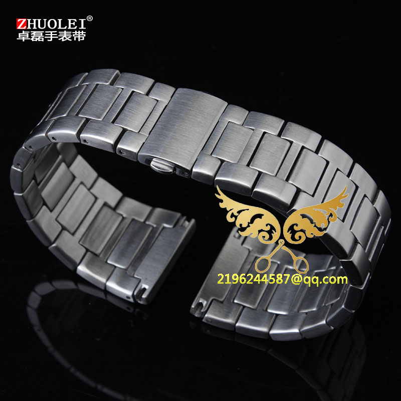 ФОТО Free shipping  High Quality 25mm Stainless Steel Watch Strap Push Button Straight End Excellent Quality