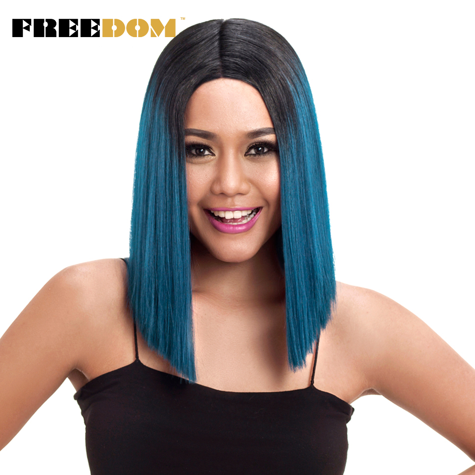 FREEDOM Straight Synthetic Hair Lace Front And T Part <font><b>Wig</b></font> 14 Inch <font><b>Wigs</b></font> Blue Ombre <font><b>Wig</b></font> Colors Choice Cosplay <font><b>Wig</b></font> Free Shipping