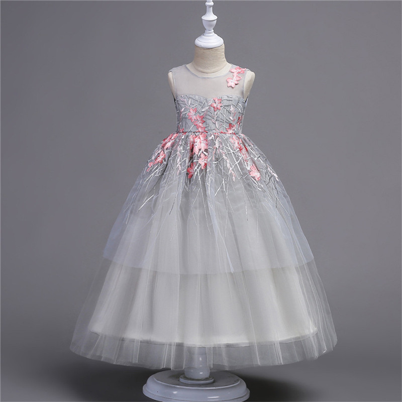 winter flower princess girl tulle dress kids teenagers clothes ...