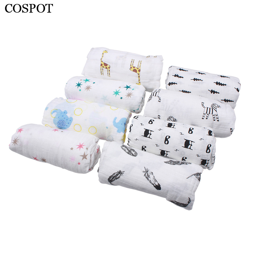COSPOT Newborn Muslin Swaddle Blanket Infant 100%Cotton Double Gauze Hold Wraps New Baby Soft Bath Towel 1.2m*1.2m 185g 30C