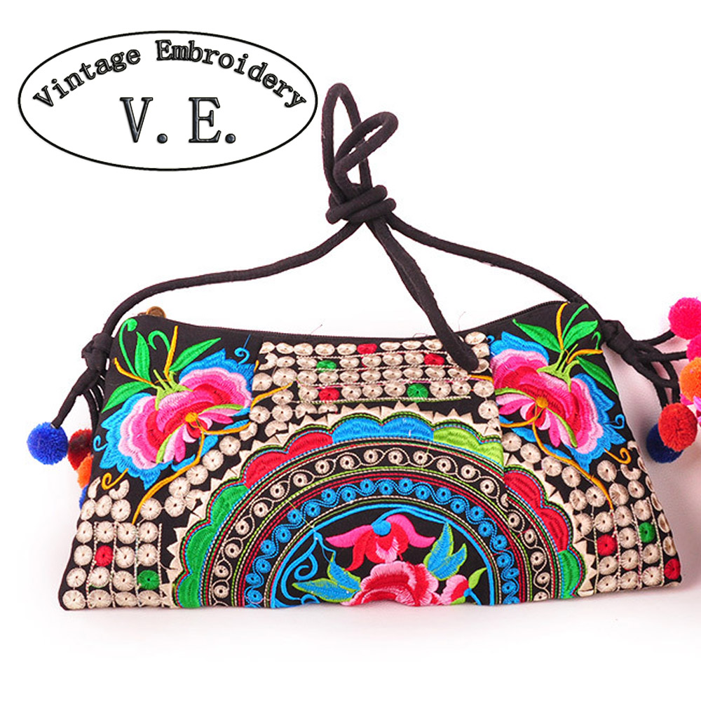 National Embroidered Bags Embroidery Unique Shoulder Messenger Bag Vintage Hmong Ethnic Thai Indian Boho Clutch Handbag 25 style chinese hmong boho indian thai embroidery brand logo backpack handmade embroidered canvas ethnic travel rucksack sac a dos femme