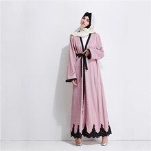 Мода мусульманских кружева Абаи длинные платья Жемчуг кардиган кимоно длинный халат Платья Туника Jubah Ближний Восток Рамадан Исламская Костюмы