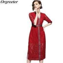 f85f474dc3e36 Yeni Varış 2018 Yaz V Yaka Vintage dantel Nakış Yıldız kanca çiçek Elbise  Kısa Kollu Paket kalça Şarap Kırmızı Dantel Elbise