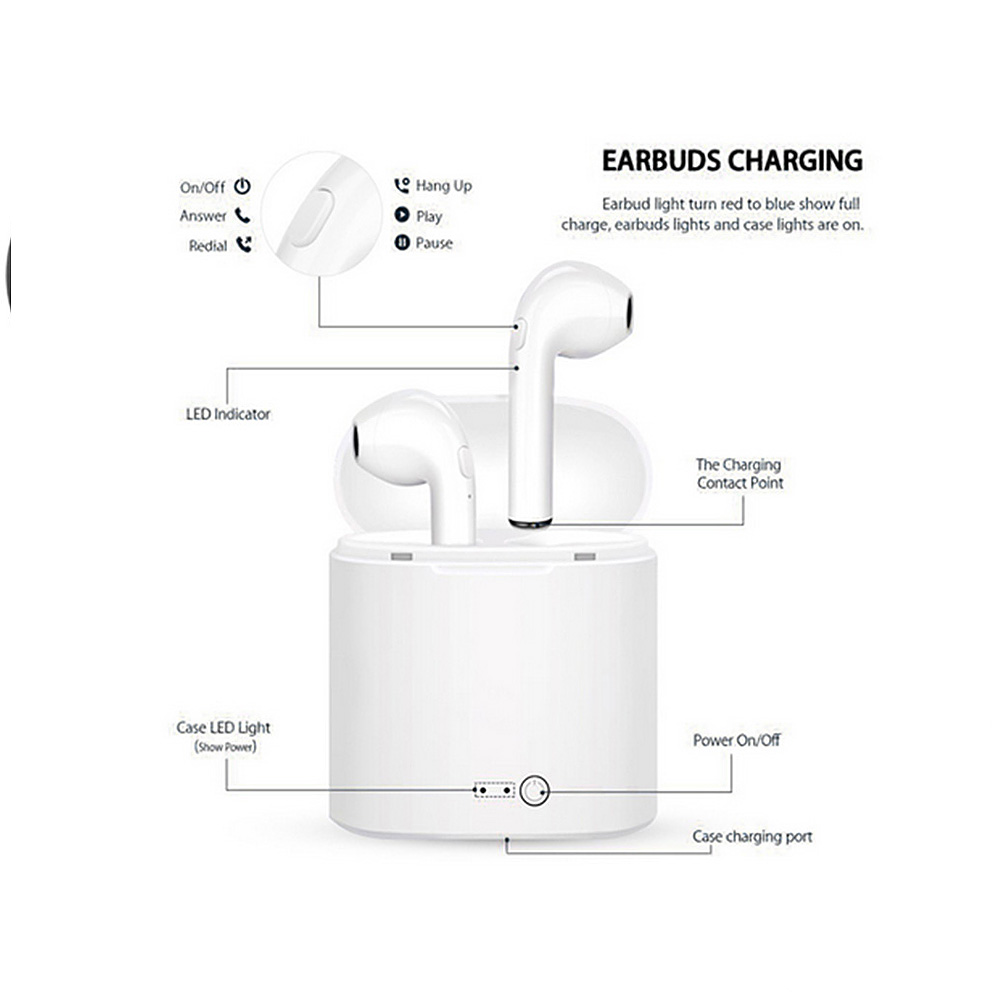 For Apple Airpods I7S TWS Wireless Bluetooth Earbuds In-Ear Earphone for IPhone Earpods Replacement Soft Antislip Ear Cover Case