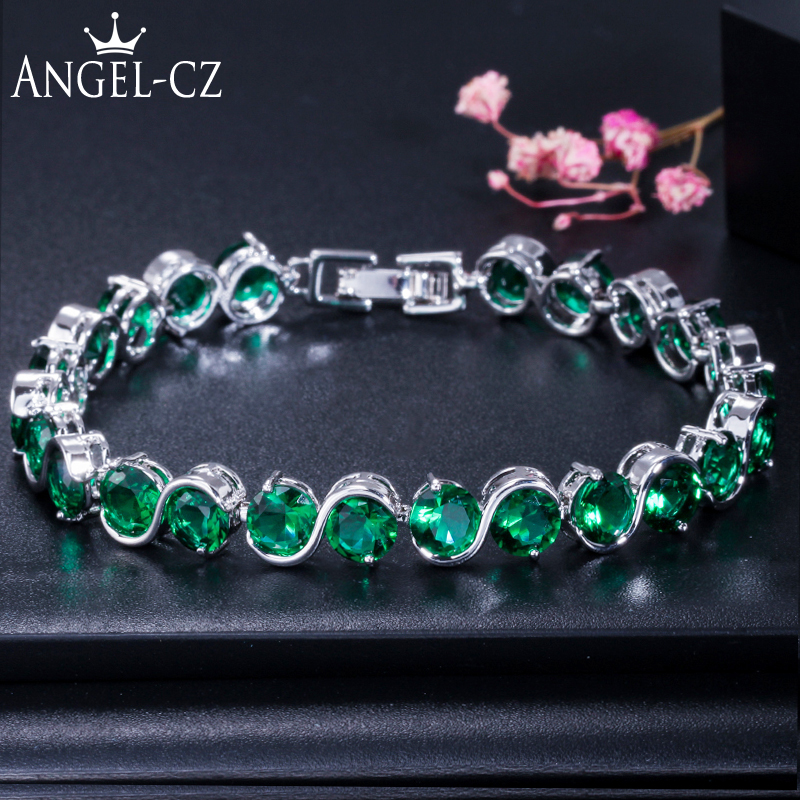 Bracciale donna ANGELCZ in argento sterling 925 classico tondo verde creato smeraldo cubico zircone pietra catena braccialetto per le donne AB002