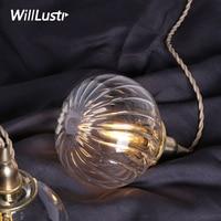 handmade mouth blown glass brass pendant lamp clear crystal glass pumpkin suspension light Japan nordic style retro lamp fixture