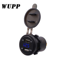 WUPP Car Charger LED voltmeter display Power Adapter Dual USB Vehicle Cigarette Socket Lighter 2 port For iPhone Android(China)