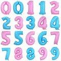 1 PC 40 Polegada Rosa Azul número Balões Feliz Aniversário Folha De Alumínio Balão de Festa de Casamento Decoração do Ano Novo Vestido S2