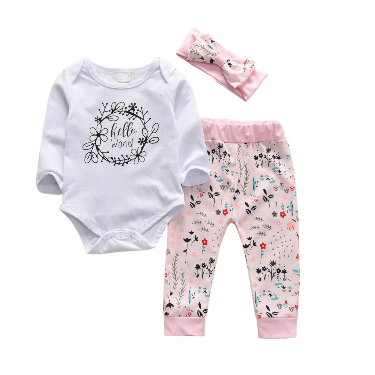 Hot Sell new style Baby Girl Clothes Long sleeve baby romper +pant +Headband 3pcs Newborn baby girls clothing set for 0-24M baby