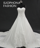 Romantic Wedding Dress 2017 Sweetheart A Line Lace Appliques Vestido De Noiva Plus Size Wedding Dress