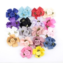 18pcs/lot Trail Order 1.8 Artificial Ruffled Rose Fabric Flower For Headwear DIY Satin Ribbon Petal Hair Accessories