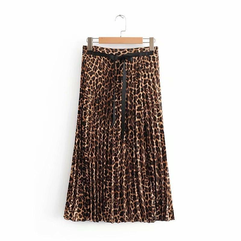 2019 Leopard Pleated Skirt with Bow Belt High Street Women Animal Print Midi Skirts 8