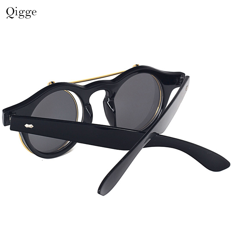 Qigge Moda Vintage Dəyirmi Retro Buxarlı Pəncək Eynəklər - Geyim aksesuarları - Fotoqrafiya 4