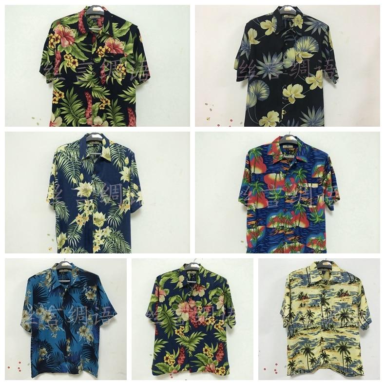 Мужские 95% шелковые блузки, гавайская рубашка, тропические рубашки для отдыха, рубашки с коротким рукавом