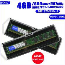 PLEXHD Desktop PC Memory RAM Memoria Module DDR2 800 PC2 6400 4GB(2PCS*2GB) Compatible DDR2 800MHz 667MHz cheap CN(Origin) Used 800 MHz NON-ECC 6-6-6-18 200PIN one year 2x Dual-channel 2GB 667Mhz 800Mhz X 2Pcs 1 8V 667 MHz 800MHz 5-5-5-15