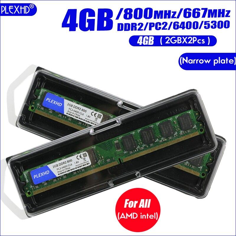 PLEXHD masaüstü bilgisayar ram bellek Memoria modülü DDR2 800 PC2 6400 4GB (2 adet * 2 GB) uyumlu DDR2 800 MHz/667 MHz