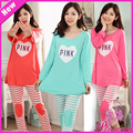 Versión coreana de la primavera y el otoño chándal pijamas pijamas de algodón de las nuevas mujeres de traje de manga larga, sra. pijamas