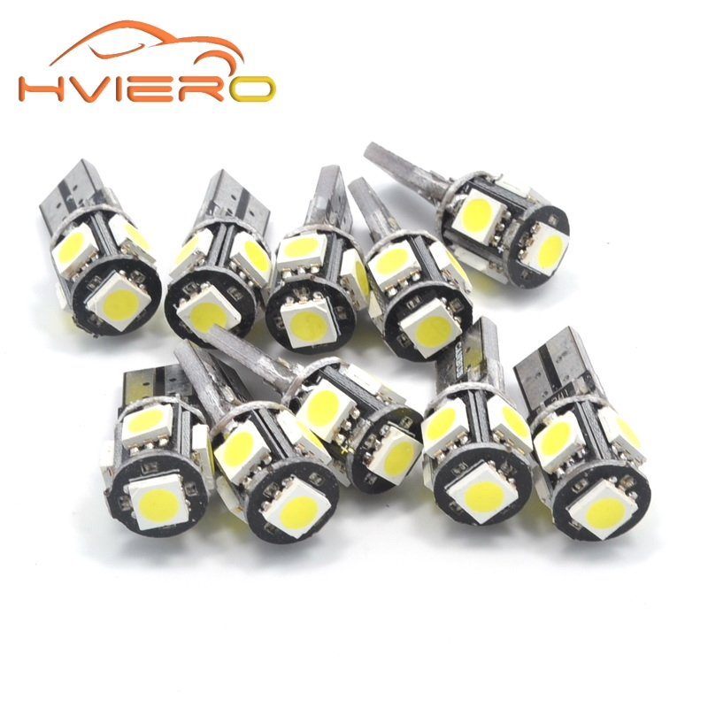 10Pcs T10 Canbus White Blue 5smd 5 smd 5050 Led Car Light W5w 194 168 Error Bulbs DC 12V Wedge Lamp Band Decoder Sign Trun Light t10 3w 144lm 6 x smd 5630 led error free canbus white light car lamp dc 12v 2 pcs