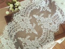 1.5 yards Eyelash Alencon Lace Fabric Trim in Ivory, Elaborately Victorian Wedding 30 cm wide bridal veil lace