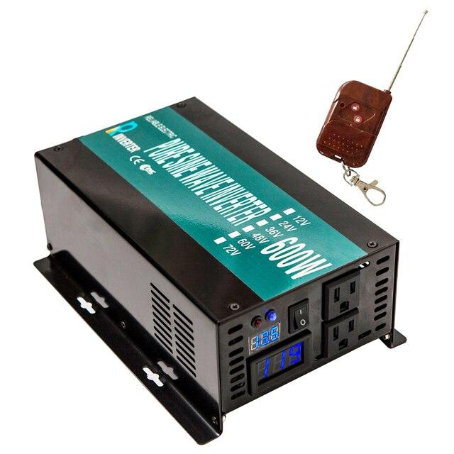 Solar Inverter 12 220 600W Pure Sine Wave Power Inverter Battery Converter Power Supply 12V/24V DC to 120V/220V/240V AC Remote