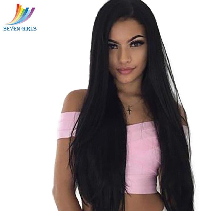 Sevengirls Free Part Lace Front Human Hair Wigs Peruvian Straight Virgin Hair Wigs Grade 9A Hair For Black Women Free Shipping