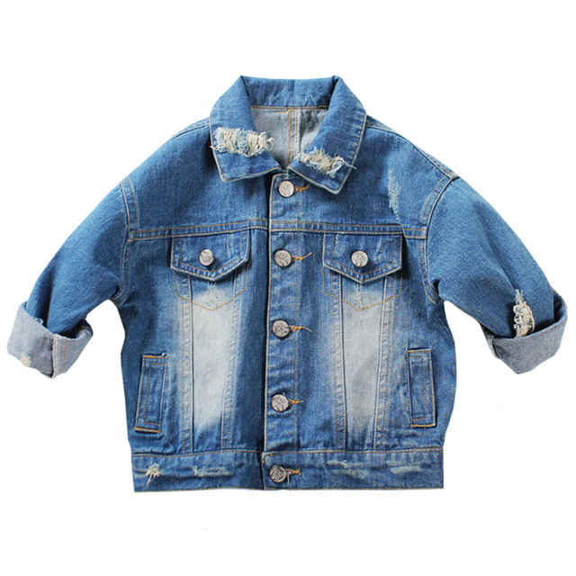 1-5Yrs Baby Boys Girls Hole Denim Jackets Coats New 2017 Fashion Spring Autumn Children Outwear Coat Kids Denim Jacket