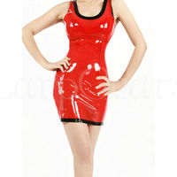 Sexy Latex Dress Girl Dress Skirt Red Slim Club Wear Vestidos Unique Exotic Dresses