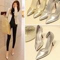 2015 моды сексуальные ботинки золотые и серебряные цвета острым носом тонкие каблуки обувь одного туфли на высоком каблуке женские