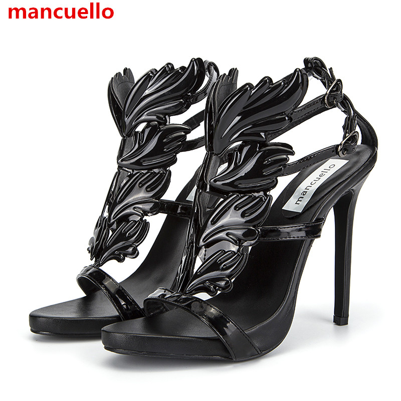 b0d138ed3baa mancuello Amazing Lady Angel Wings Black Thin High Heels Sandals Gladiator  Rome Wedge Women Leaf Leather Pumps Shoes Discount-in Women s Sandals from  Shoes ...