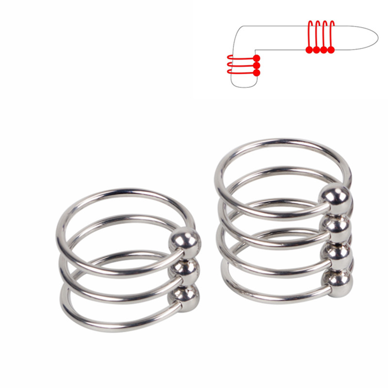 New Stailnless Steel Metal Strong Erection Penis Lock Sleeve Cock Ring Ball Stretcher Male Delay Ejaculation Extender Sex Toy