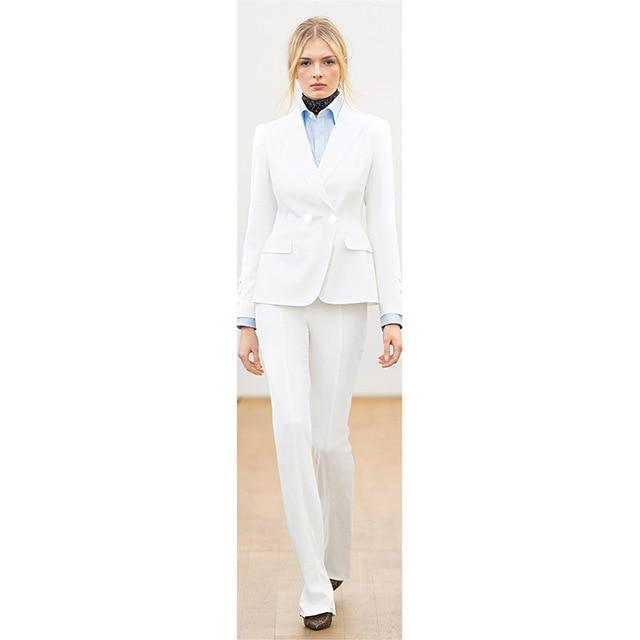 c2a679935743 Para Pantalones Traje Chaqueta Mujer Blanco Oficina De Negocios ...