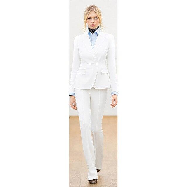 Vestito Giacca Delle Manica Lunga Di Pantaloni Affari Donne Bianco qg4gtWOA
