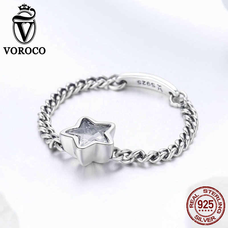 VOROCO รูปดาว Original Star Chain แหวนสำหรับผู้หญิง Real 925 เงินสเตอร์ลิงล้าง CZ แหวนเงินเครื่องประดับ Bague Femme BKR435