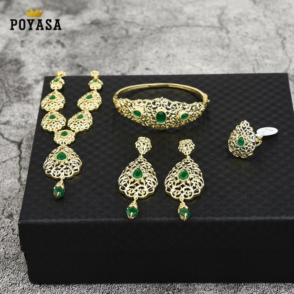 Moroccan Caftan wedding gold jewelry set for women green stone fashion jewelry set copper high quality gold plated jewelry set