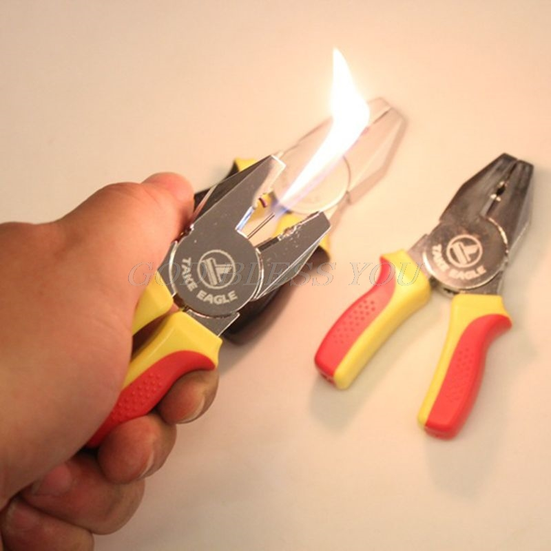 1PC Creative Portable Mini Pliers Shape Cartoon Cigarette Lighter Refillable Butane Ornaments Gift Random Color Without Oil Gas