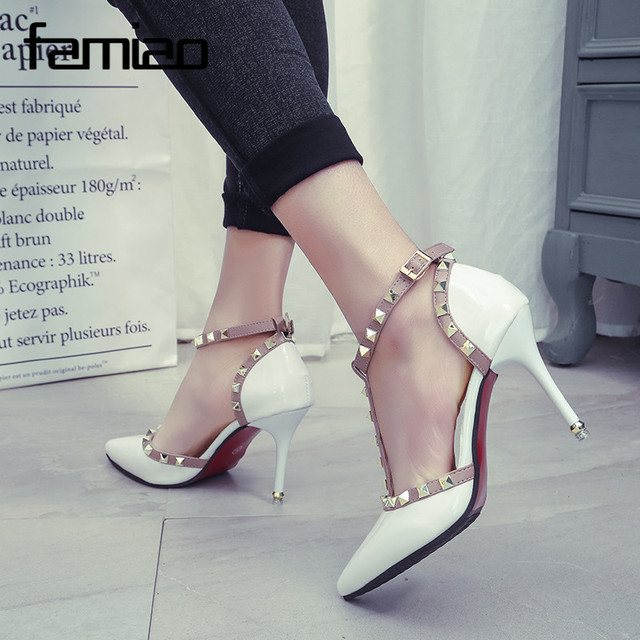 Luxury Rivets Pumps Brand 2017 Designer Metal Rivets Leather T-Strap Pumps Women Superstar High Heels Ladies Wedding Shoes