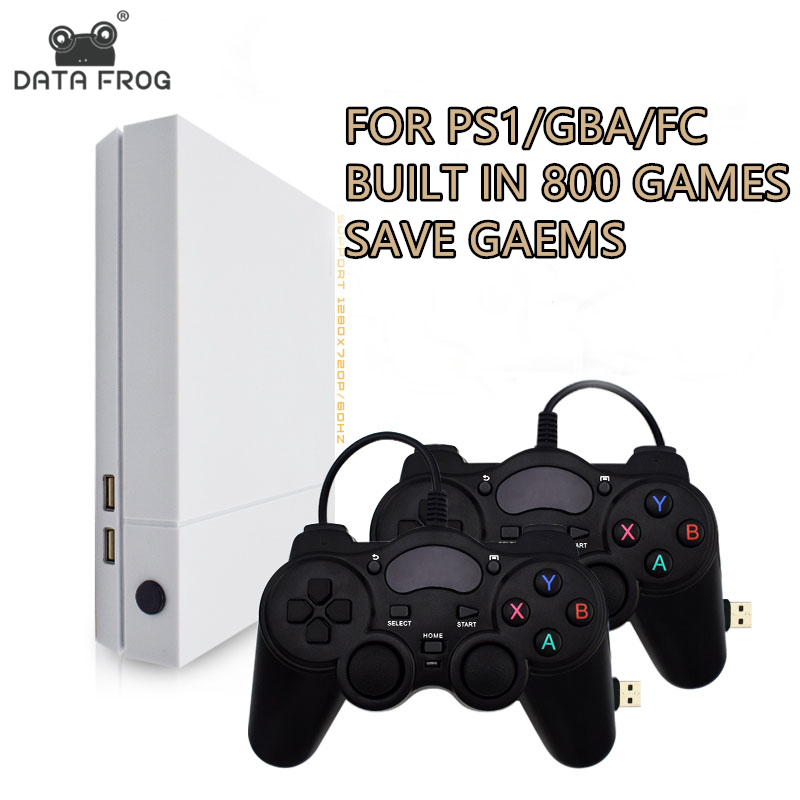 цена на Data Frog HD Retro Video Game Console and 2 Gamepads 4 GB Built In 800 Classic Games For PS1/GBA/FC Max to 32GB Game Console