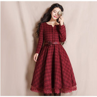 AIGYPTOS YHT Spring Autumn New Women Vintage Elegant Slim Long Sleeve Plaid Lace Patchwork Long
