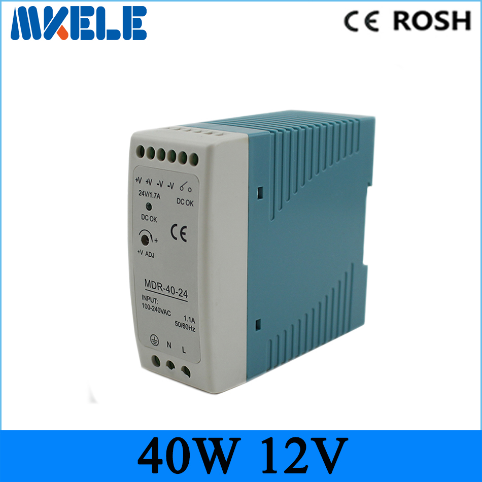 LED driver 40w Mini Size Power Supply Din Rail ac dc switching power supply 12v 3.4a Mdr-40-12 compact size mdr 100 24 din rail led driver 100w 24v output dc dinrail power supply