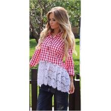 2016 Hitz Women's Fashion Stitching Lace Openwork Crochet Blouse Women Casual Long-sleeved Shirt
