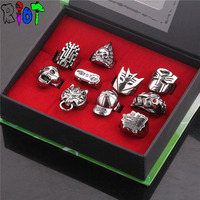 Anime Transfomers Detective Conan Series 10 Style Ring Sets With Box Vintage Bague Men Jewelry Rings