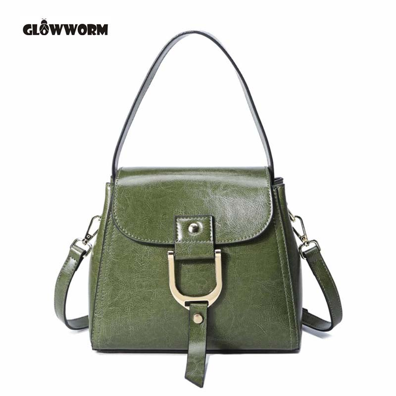 GLOWWORM Brand 2017 Fashion Women Handbag Genuine Leather Women Bag Soft Oil Wax Leather Shoulder Bag Large Capacity Casual Tote 2017 esufeir brand genuine leather women handbag fashion shoulder bag solid cowhide composite bag large capacity casual tote bag