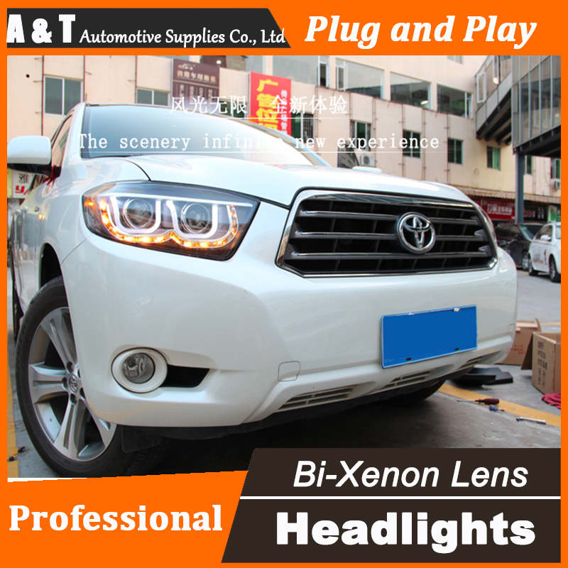 Car Styling Head Lamp for Toyota Highlander headlight assembly 2009-2012 LED headlight Double U led drl H7 with hid kit 2 pcs. car styling head lamp for bmw e84 x1 led headlight assembly 2009 2014 e84 led drl h7 with hid kit 2 pcs