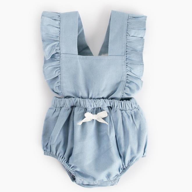 Mabeezo Wholesale baby romper denim backless bow cotton girls jumpsuit 5-612