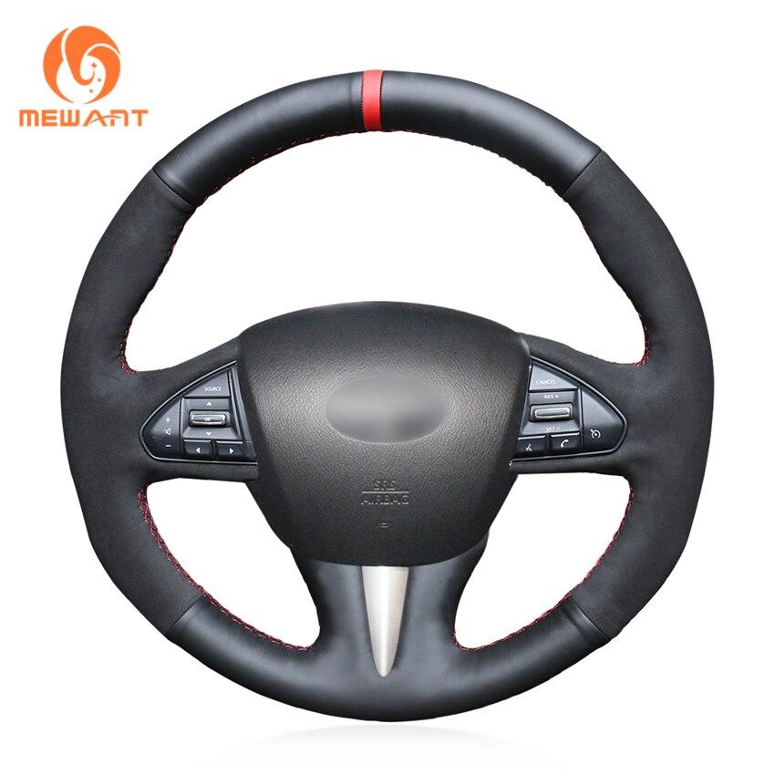 цена на MEWANT Blue White Black Genuine Leather Car Steering Wheel Cover for Infiniti Q50 2014 2015 QX50 2015
