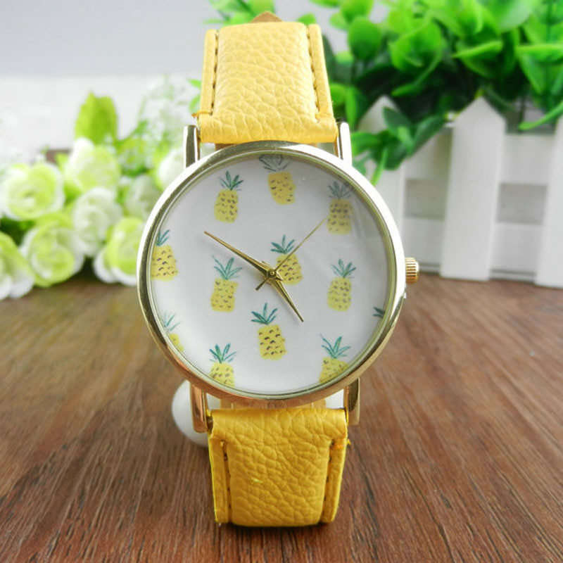 New Durable Pineapple Print Leather Band Alloy Analog Clock Reloj Pulsera Mujer Watch Women Wrist Watches for Women Ladies Watch ladies watch fashion math function pattern leather band alloy analog quartz vogue watches wrist watches for women reloj mujer