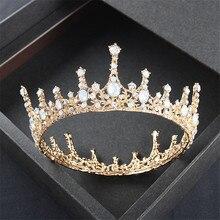 Baroque Retro Queen King Tiara Crown Women Headdress Bridal Wedding Tiaras Crowns Hair Jewelry ornament hair accessories