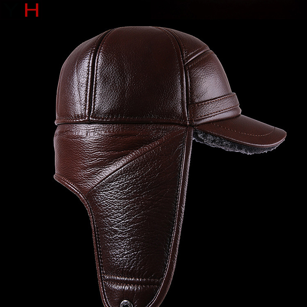 Military Fur-Hat Hats Winter 100%Genuine-Leather New Men for Flat-Cap Thick with Velvet