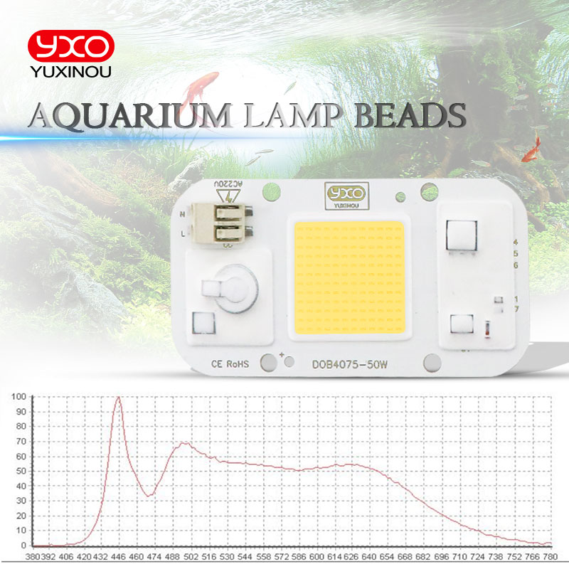 AC 110V 220V 50W DOB COB LED Chip Aquarium Lamp Waterproof Aquatic Plant Beads For Aquarium Led Lighting Fish Tank