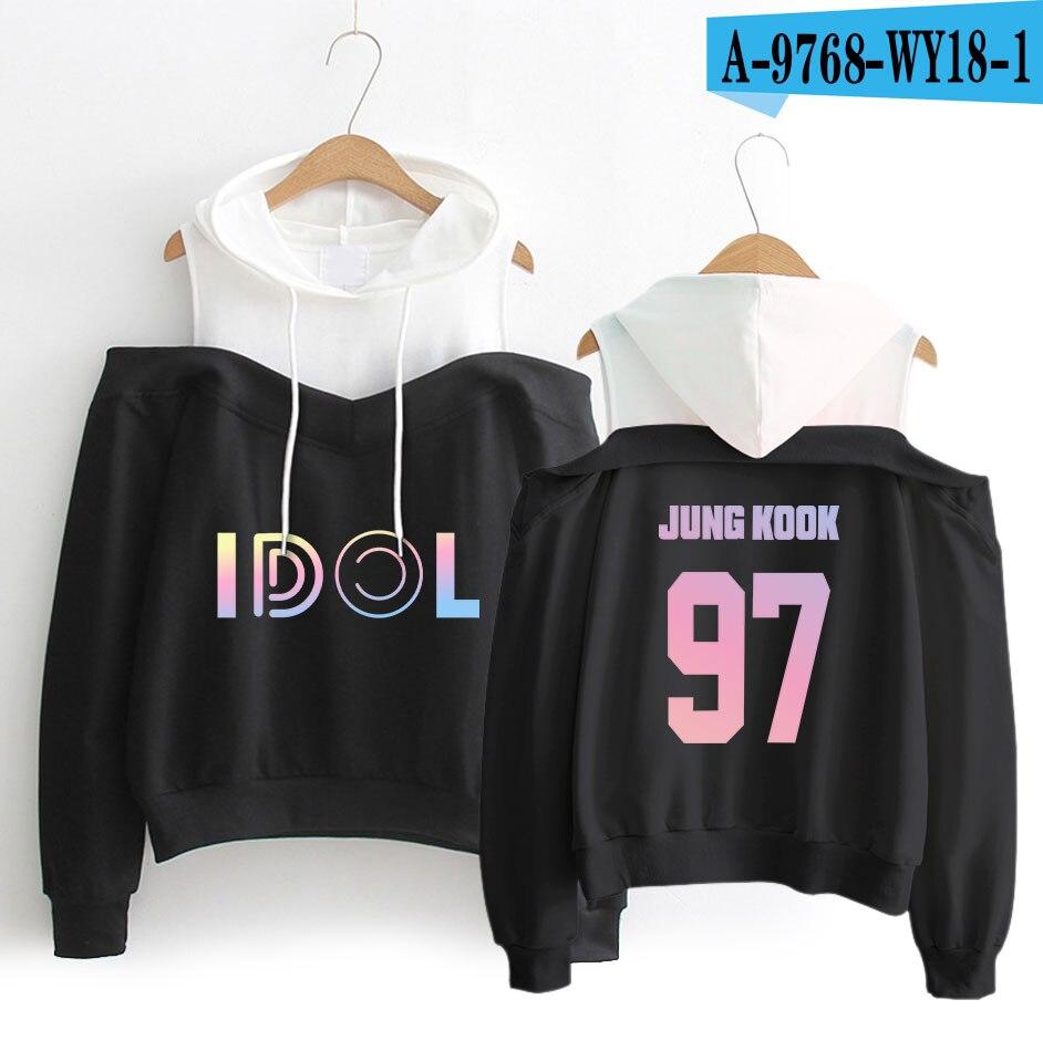 Drop Shopping BTS KPOP Hoodies and Sweatshirt Idol Hoodies BTS Kpop Clothes Girls Shoulder Streetwear Women